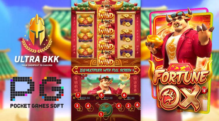 PG Slot Fortune OX ปุ่มฟังก์ชั่น